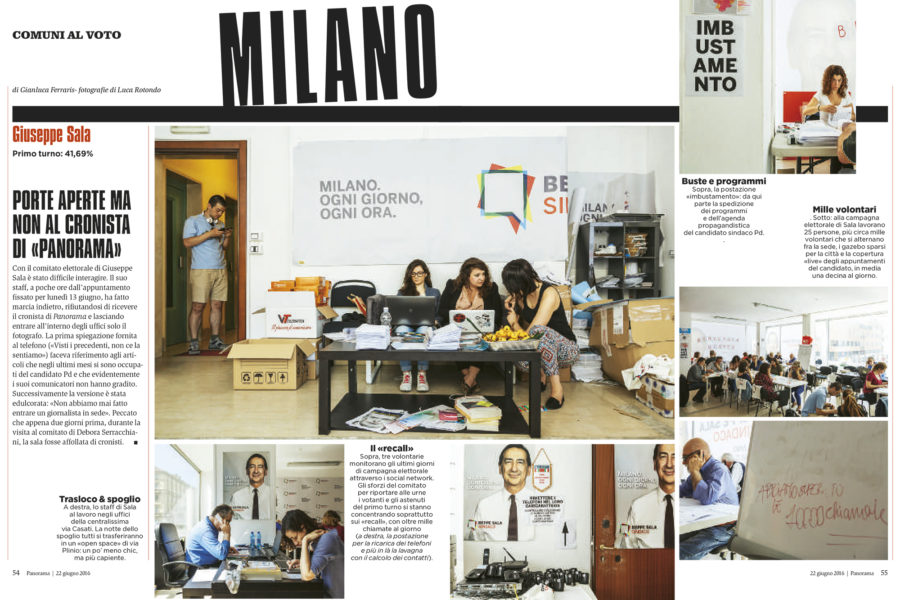 Luca Rotondo tearsheets per Panorama assignement reportage Ballottaggi Giuseppe Sala Stefano Parisi